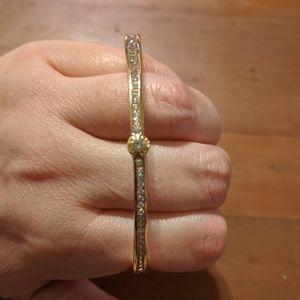 Henri Bendel Gold Bangle with Crystals